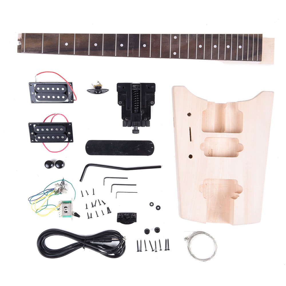 Unfinished DIY Electric Guitar Kit Special Design Without Headstock  Basswood Body Rosewood Fingerboard Maple Neck