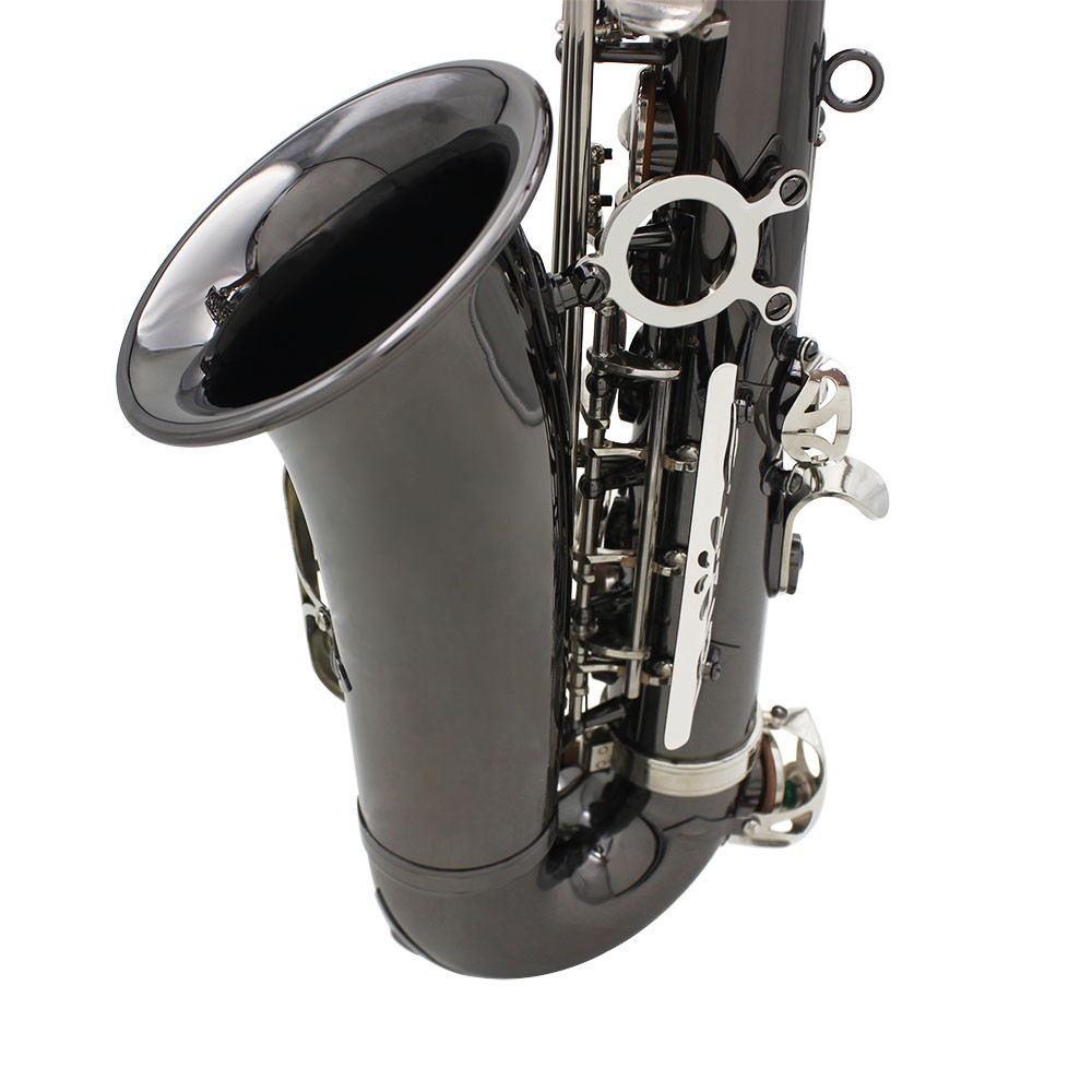 Professional Brass Bend Eb E-flat Alto Saxophone Sax Black Nickel Plating  Abalone Shell Keys with Carrying Case Gloves Cleaning Cloth Straps Grease