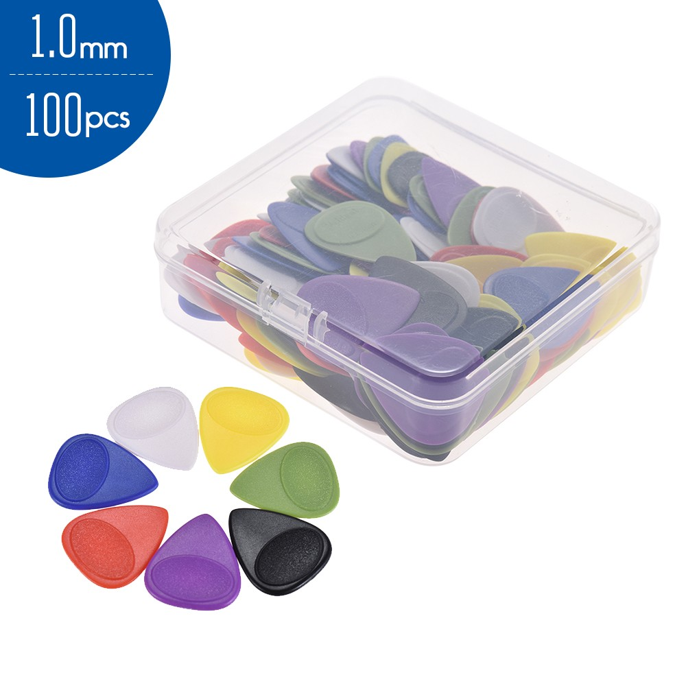 100pcs 1.0mm Guitar Picks Celluloid Picks Color Mixed With Storage Box For  Acoustic Folk Classic Electric Guitars Bass