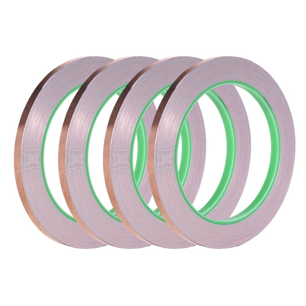 Copper Foil Tape with Dual Conductive Adhesive for EMI Shielding Electronic  Guitar Slug Repellent Paper Circuits Electrical Repairs 4 Tapes/ Pack for