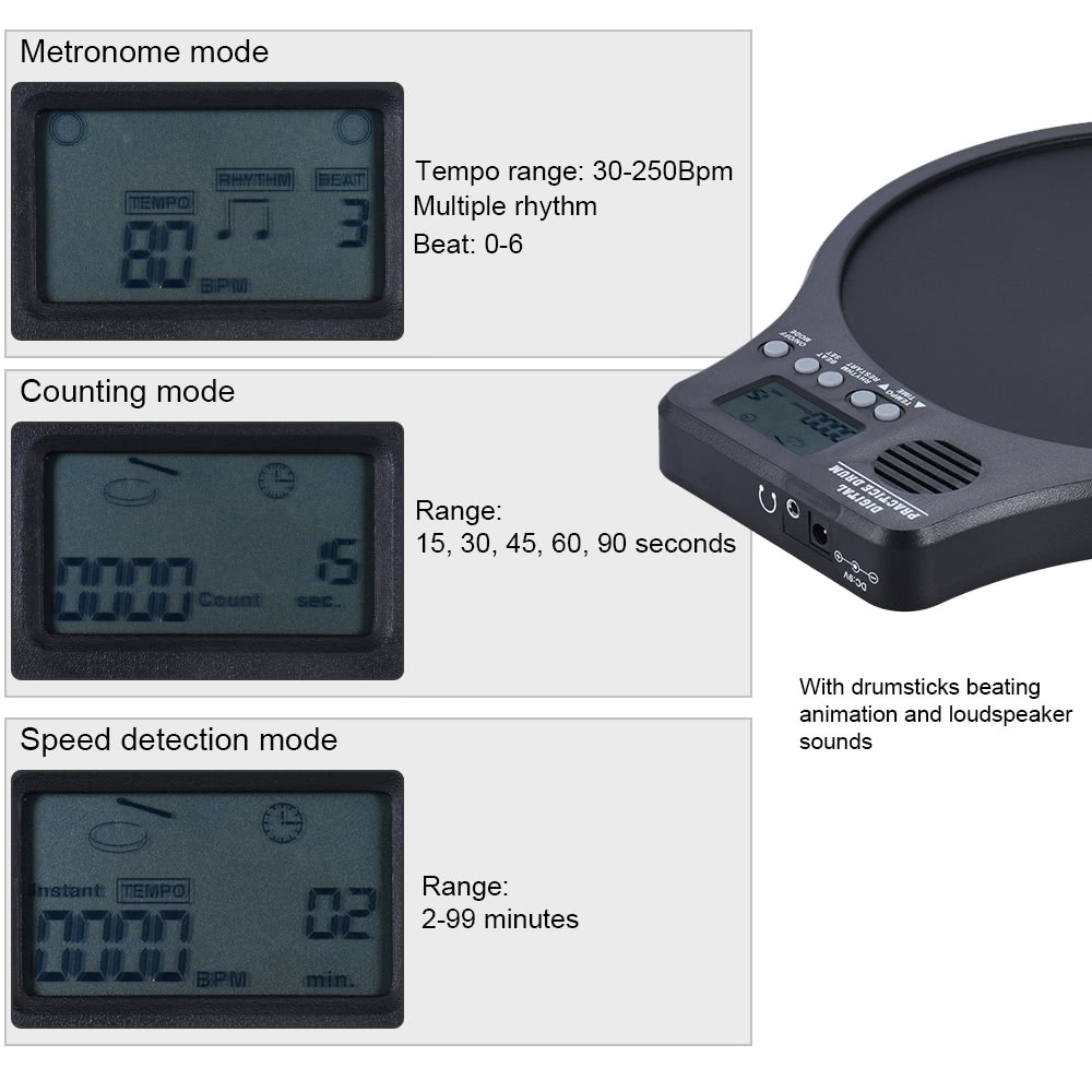 eno DEM-40 Multifunction 3 in 1 Portable Electric Digital Practice Drum Pad with Metronome / Counting / Speed Detection Mode White