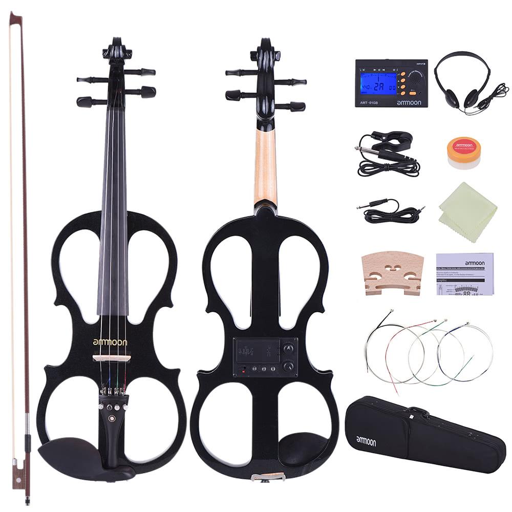 ammoon full size 4 4 solid wood electric silent violin fiddle style 1 for sale us black. Black Bedroom Furniture Sets. Home Design Ideas