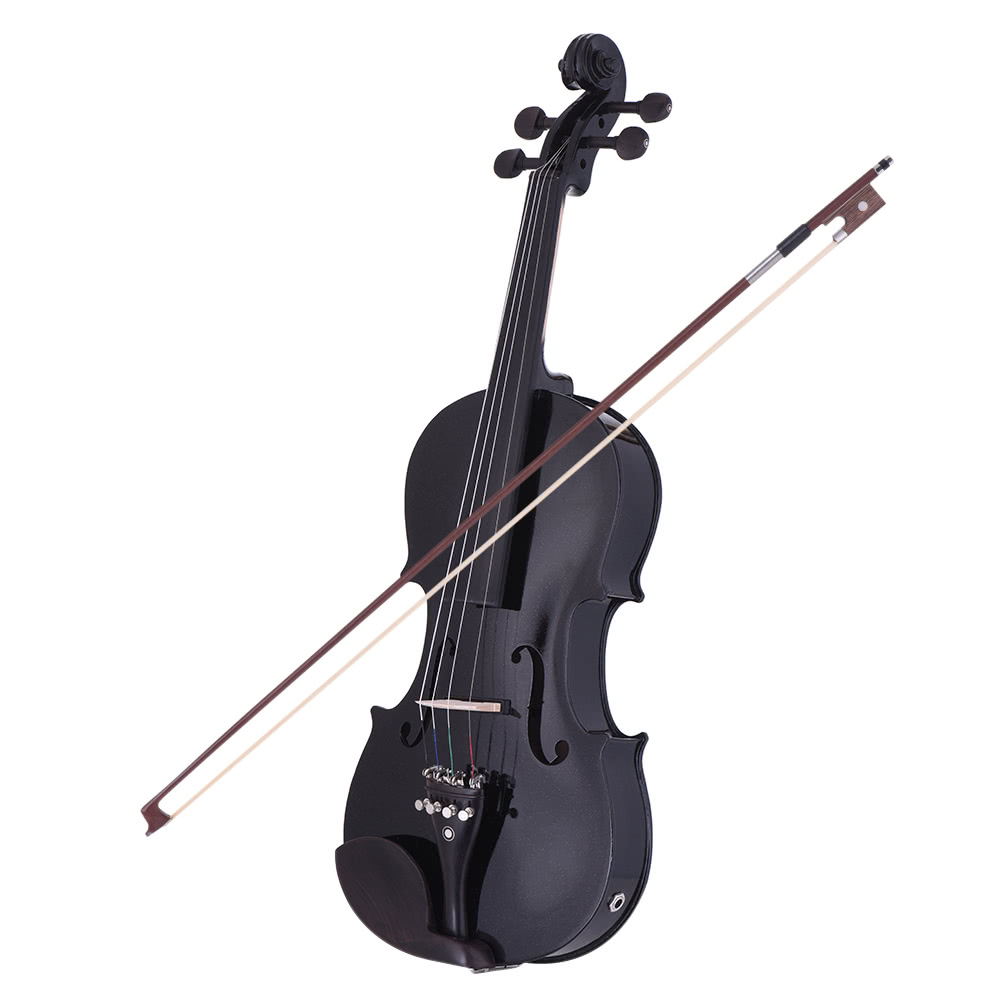 ammoon full size 4 4 acoustic electric violin fiddle solid wood body ebony fingerboard pegs chin. Black Bedroom Furniture Sets. Home Design Ideas