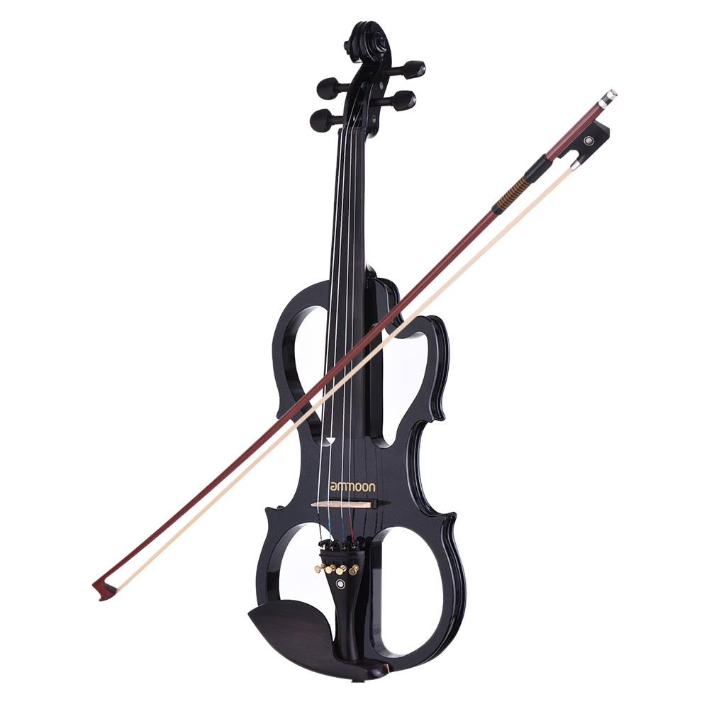 ammoon ve 201 full size 4 4 solid wood silent electric violin fiddle maple body ebony. Black Bedroom Furniture Sets. Home Design Ideas