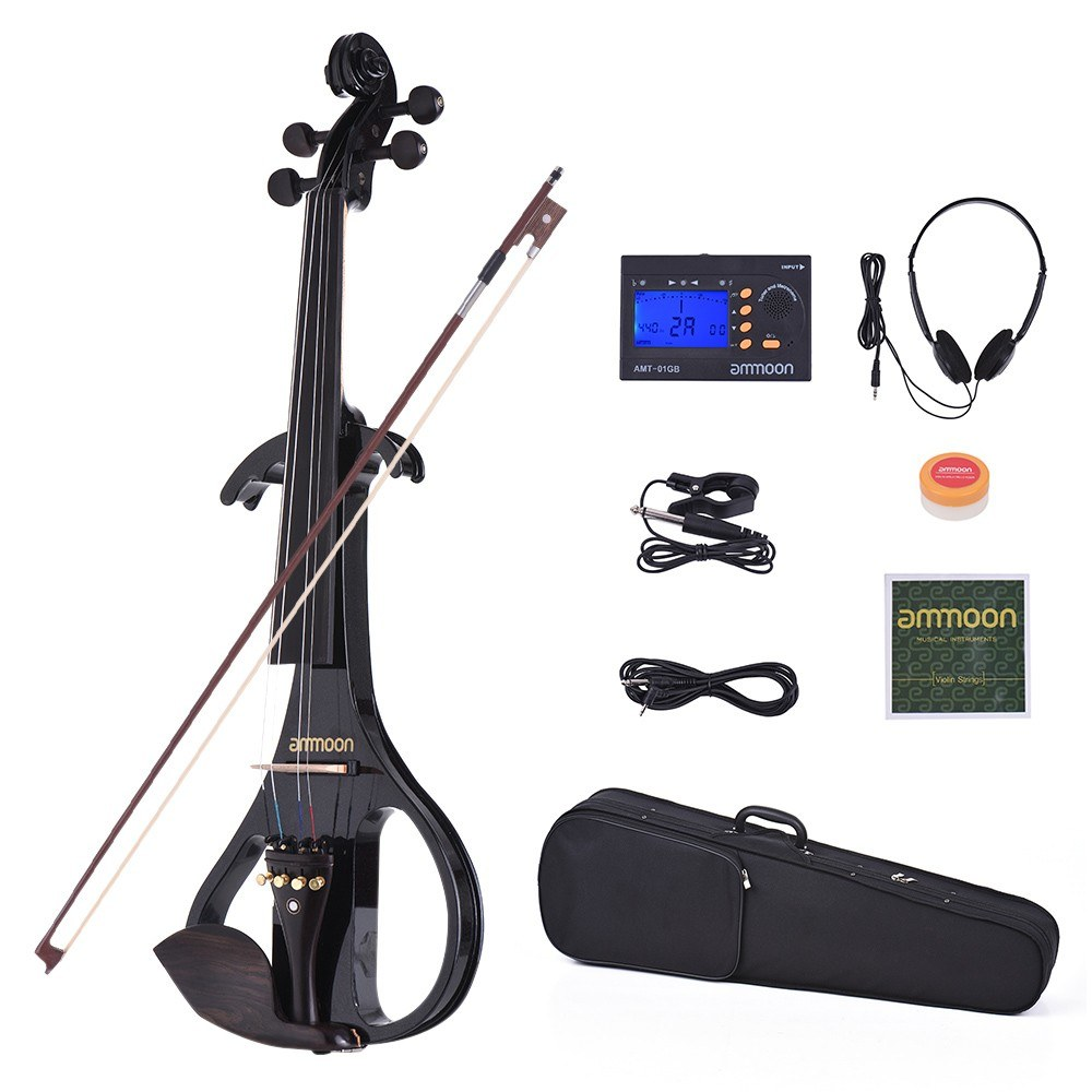 ammoon VE-209 Full Size 4/4 Solid Wood Silent Electric Violin Fiddle Maple  Body Ebony Fingerboard Pegs Chin Rest Tailpiece with Bow Hard Case Tuner
