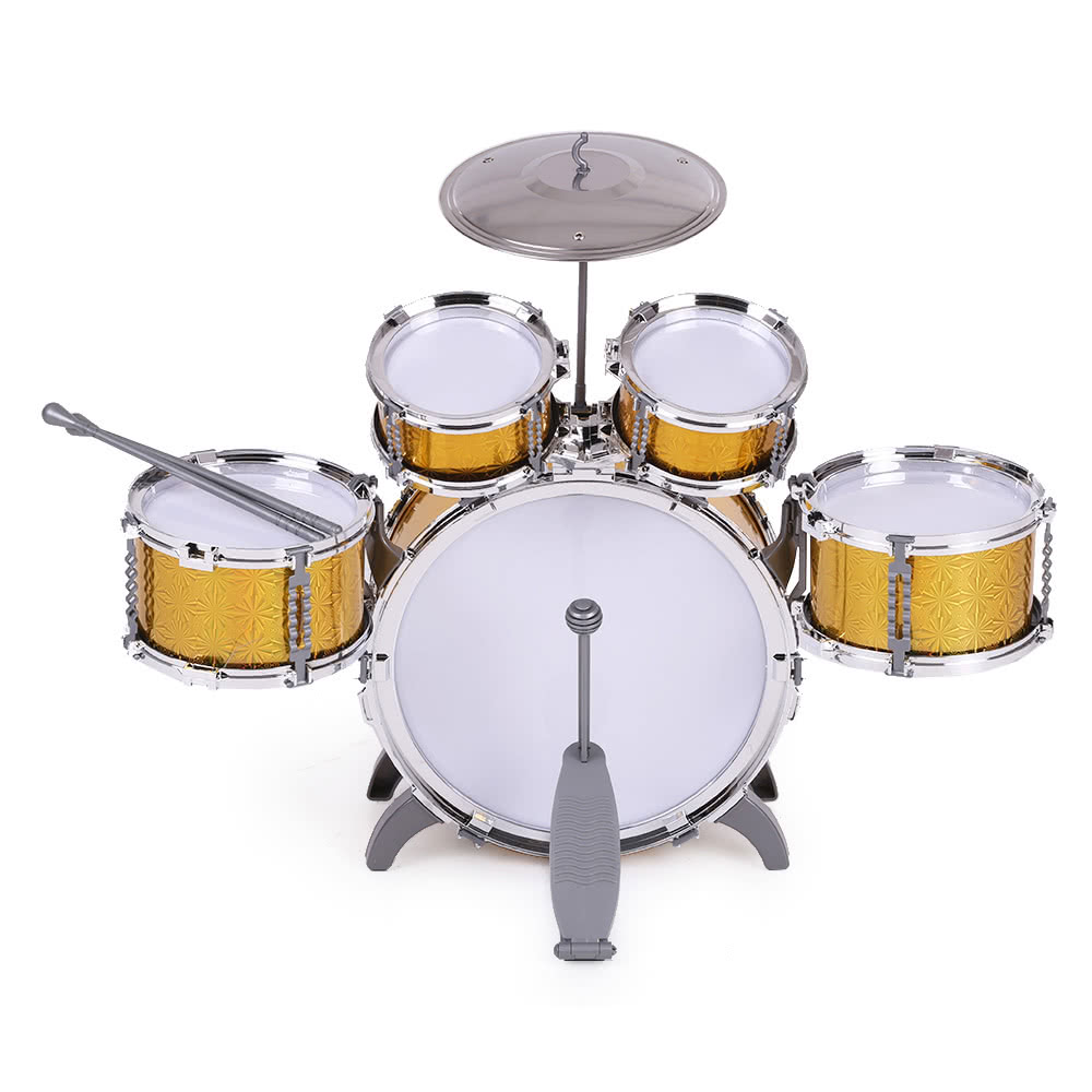 children kids drum set musical instrument toy 5 drums with small cymbal stool drum sticks for. Black Bedroom Furniture Sets. Home Design Ideas