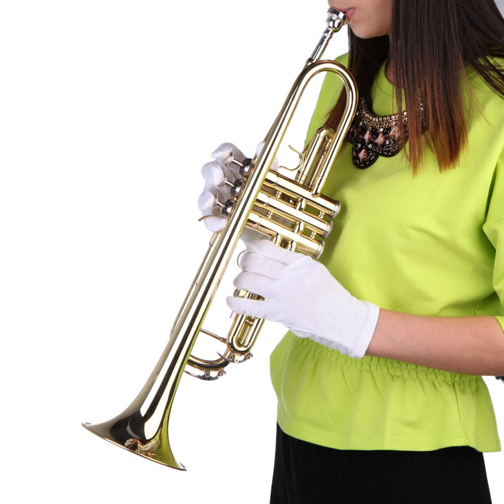 trumpet bb b flat brass exquisite with mouthpiece gloves for sale us all new gold tomtop. Black Bedroom Furniture Sets. Home Design Ideas