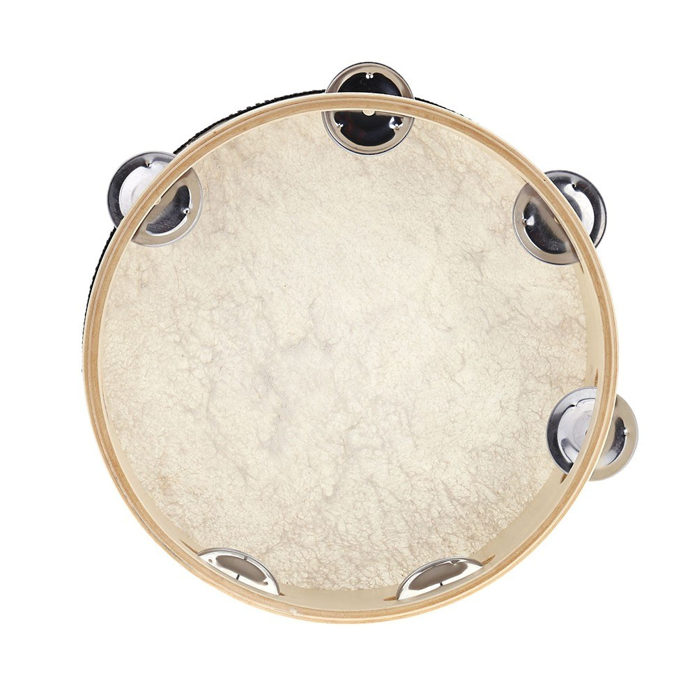 second hand 8 hand held tambourine drum bell birch metal jingles percussion musical educational. Black Bedroom Furniture Sets. Home Design Ideas