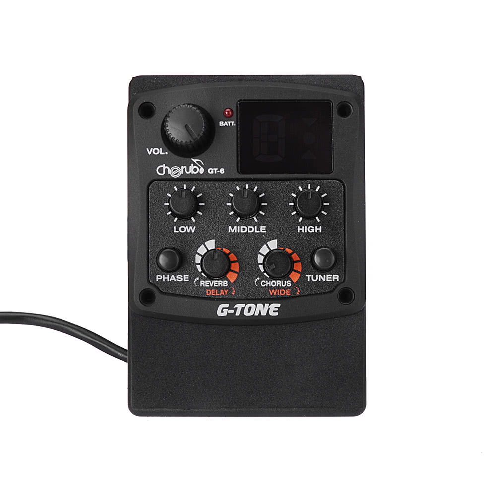 Cherub G Tone Gt 6 Acoustic Guitar Preamp Piezo Pickup 3 Band Eq Vol Wiring Diagram Equalizer Lcd Tuner For Sale Us3197 Black Tomtop