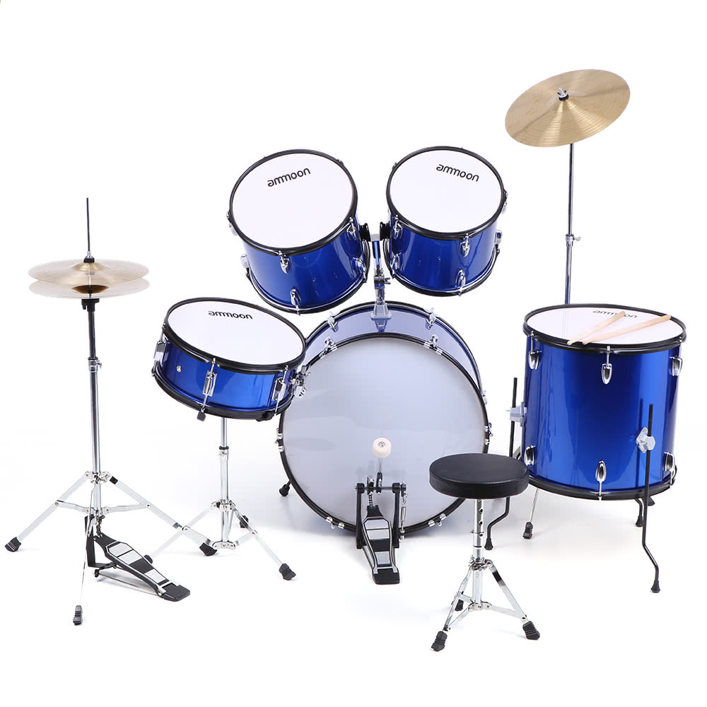 ammoon 5 piece complete adult drum set drums kit percussion musical instrument with cymbals. Black Bedroom Furniture Sets. Home Design Ideas