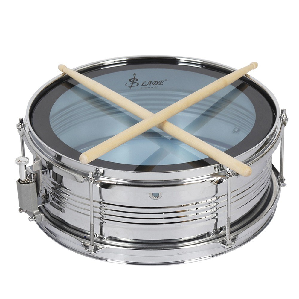 14 snare drum kit stainless steel drum body pvc drum head with drum bag strap drumsticks. Black Bedroom Furniture Sets. Home Design Ideas