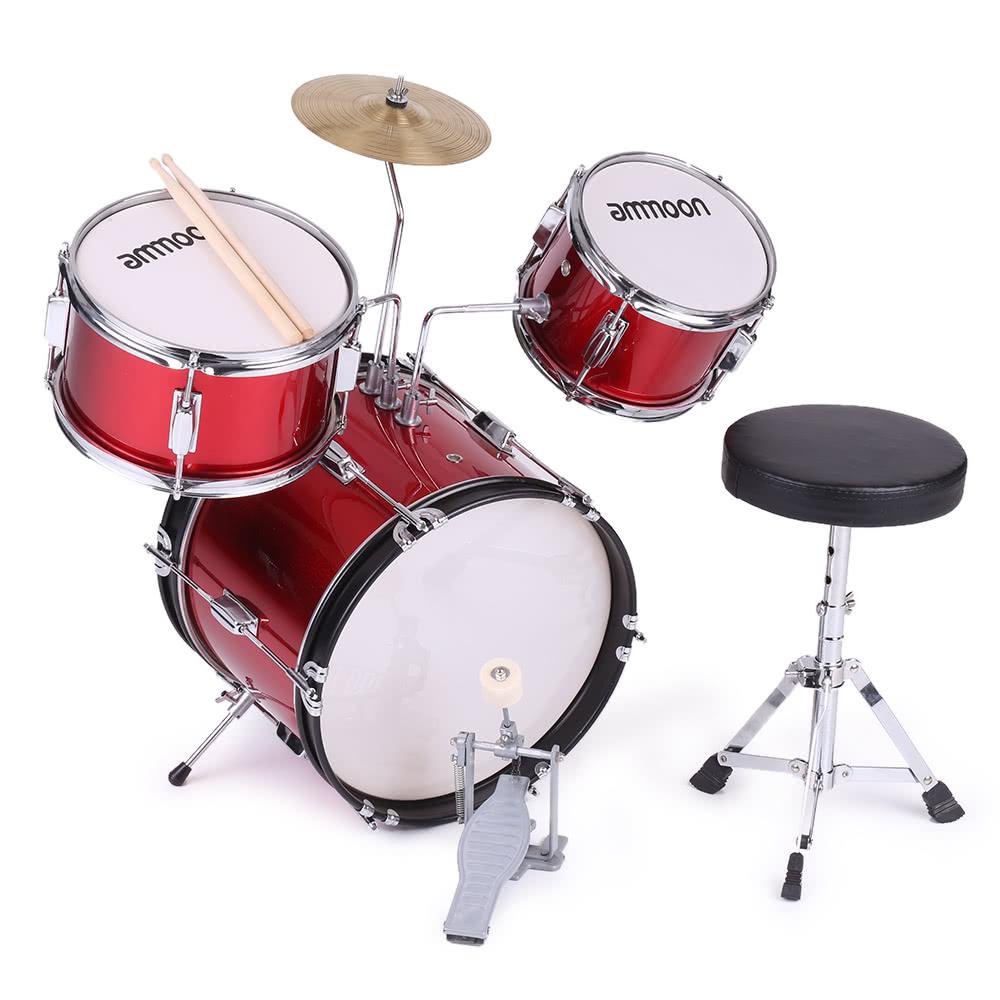 Ammoon 3 Piece Kids Children Junior Drum Set Drums Kit