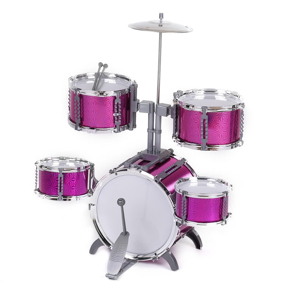 compact size drum set children kids musical instrument toy 5 drums with small cymbal stool drum. Black Bedroom Furniture Sets. Home Design Ideas