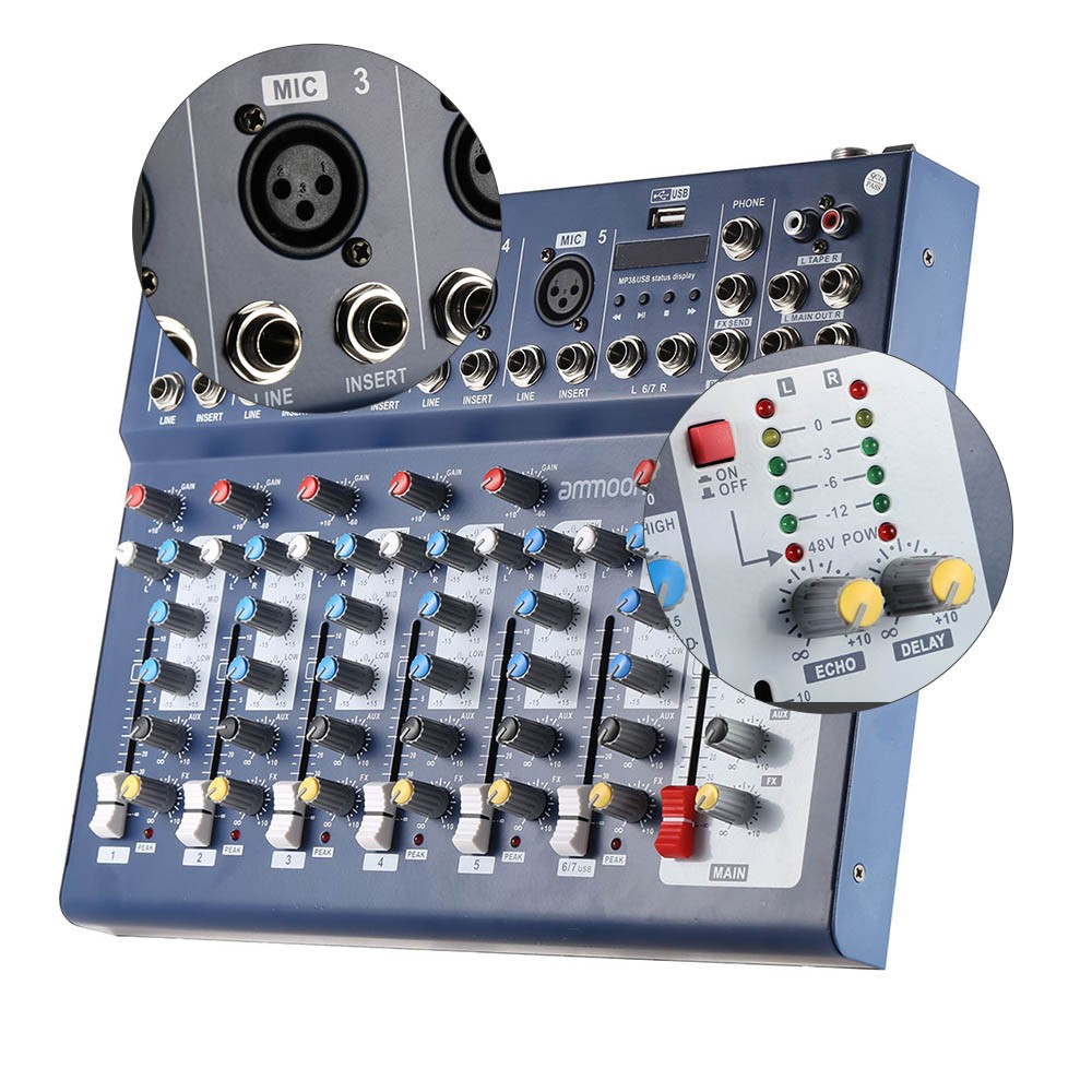 Ammoon F7 Usb 7 Channel Digital Mic Line Audio Sound Mixer Mixing Low Cost Console For Recording Dj Stage Karaoke Music Appreciation Sale Us874 All New Us