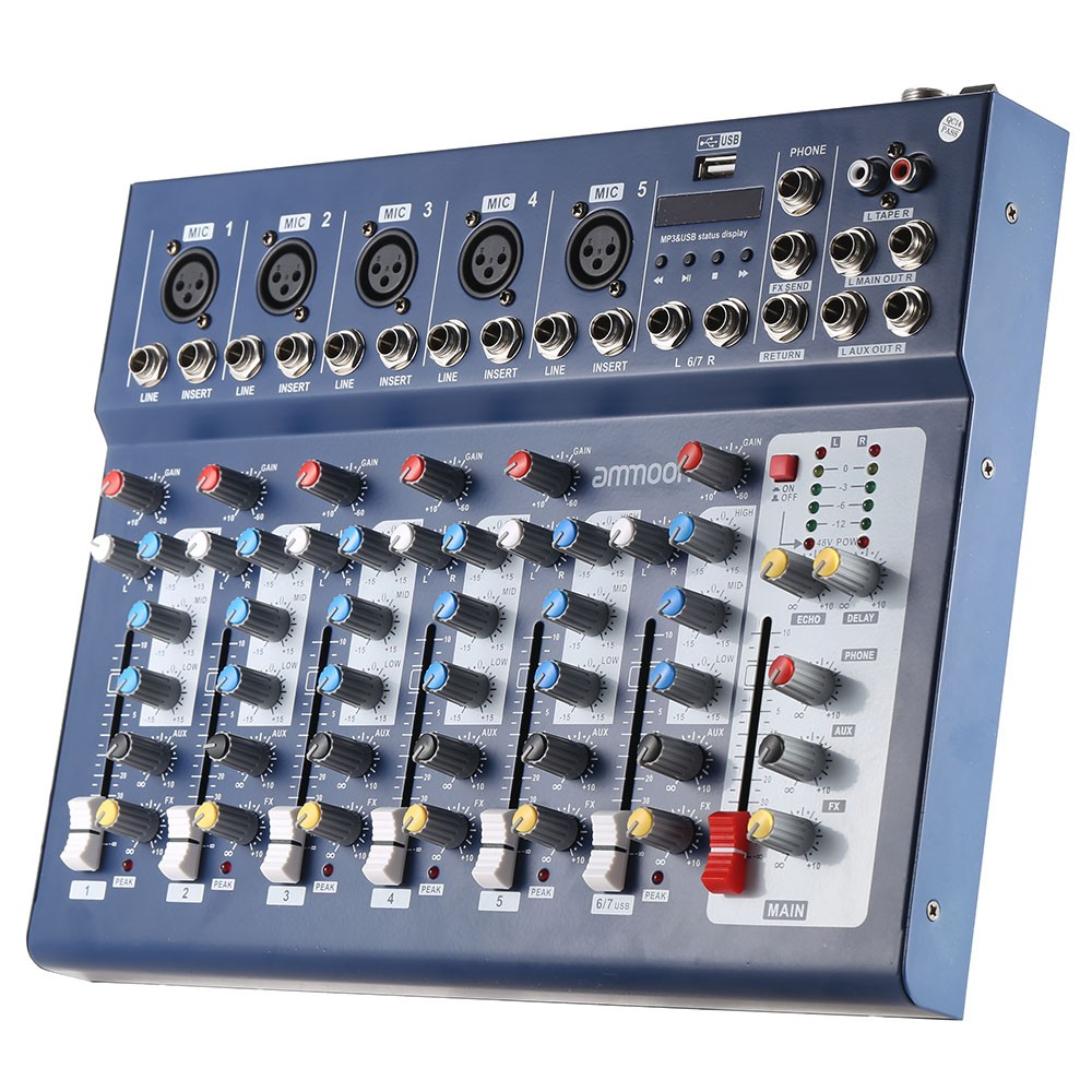 ammoon f7 usb 7 channel digital mic line audio sound mixer mixing console for recording dj stage. Black Bedroom Furniture Sets. Home Design Ideas