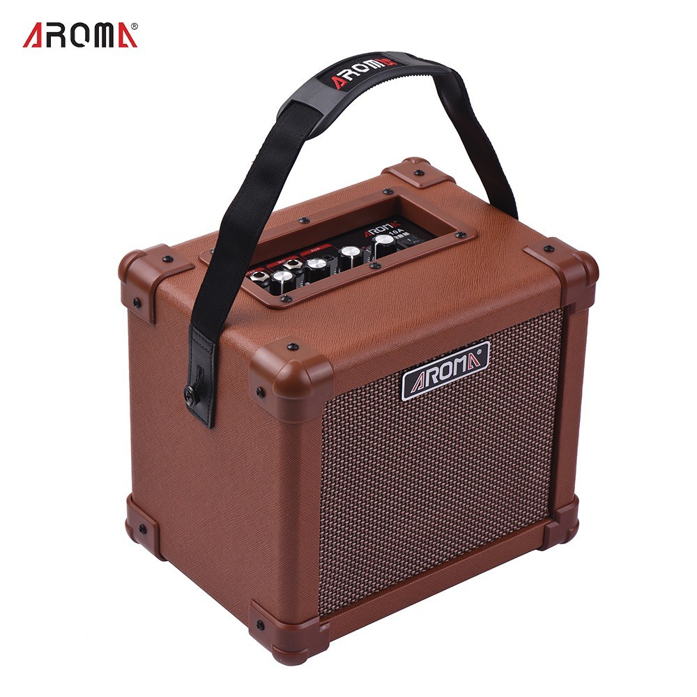 aroma ag 10a portable acoustic guitar amplifier amp speaker 10w with microphone interface audio. Black Bedroom Furniture Sets. Home Design Ideas