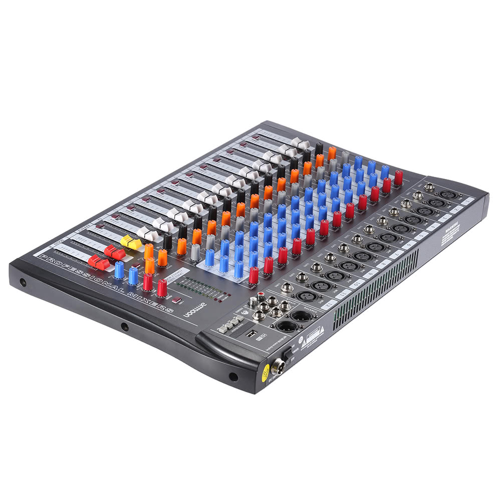 ammoon 120s usb 12 channels mic line audio mixer mixing console for sale us eu tomtop. Black Bedroom Furniture Sets. Home Design Ideas