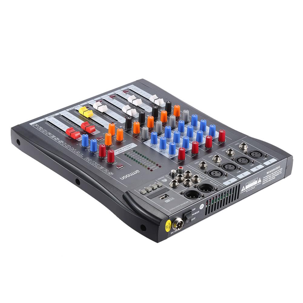 ammoon 40s usb 4 channels mic line mixer mixing console 3 band eq usb xlr input 48v phantom. Black Bedroom Furniture Sets. Home Design Ideas