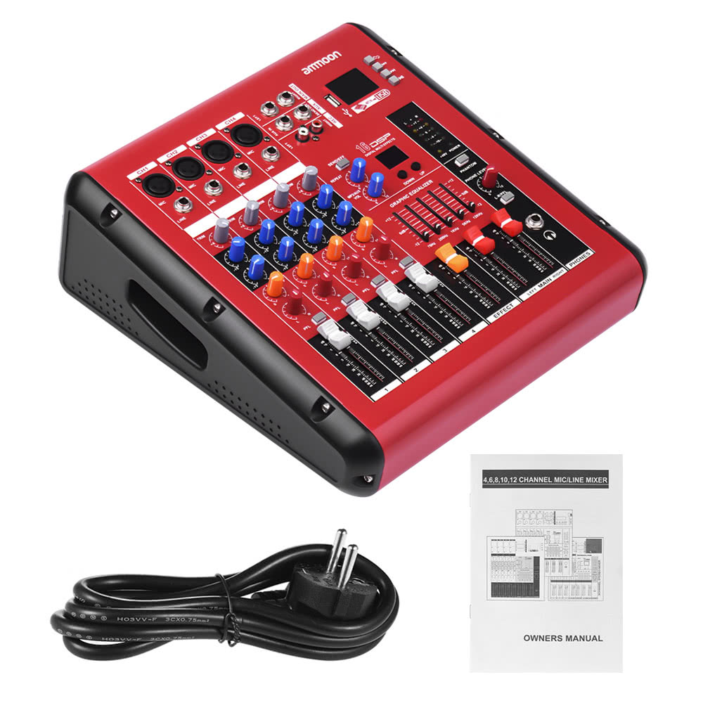 ammoon PMR406 4-Channel Digital Audio Mixer Mixing Console for Recording DJ Stage Karaoke for
