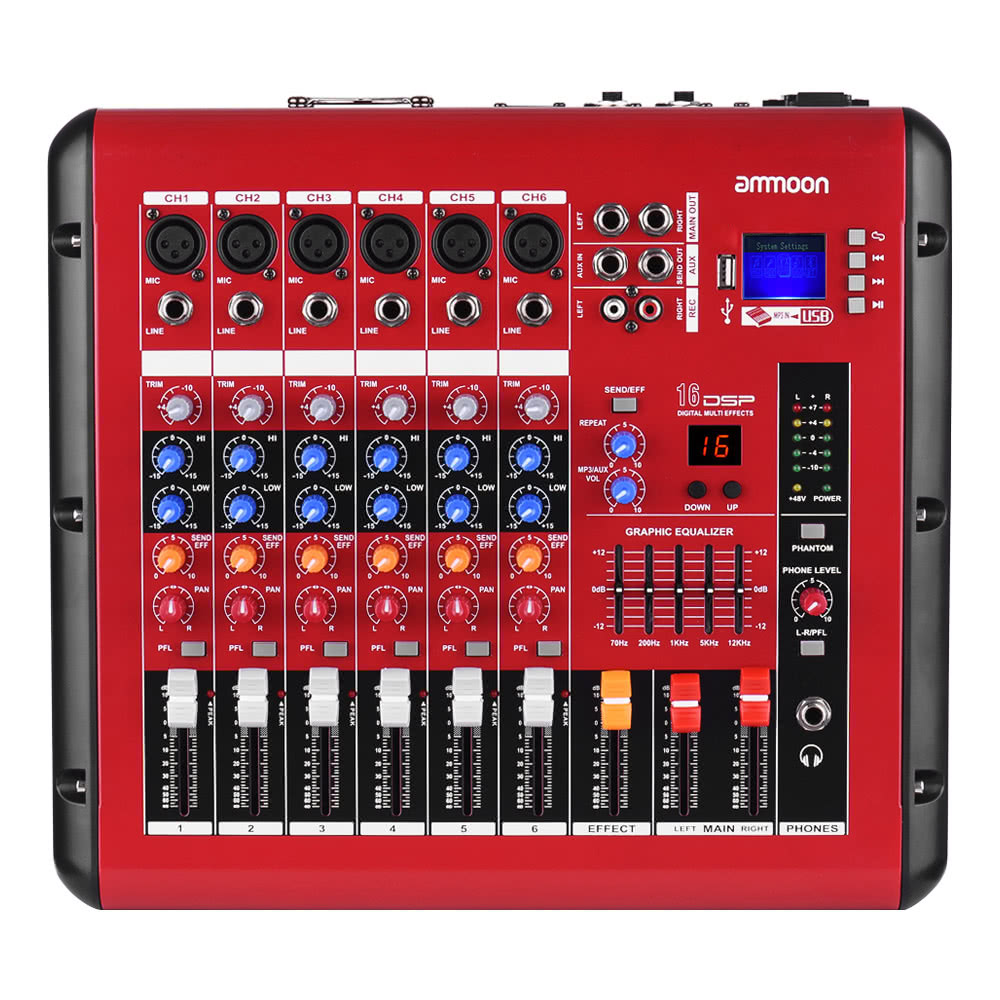 ammoon pmr606 6 channel digital audio mixer mixing console for recording dj stage karaoke for. Black Bedroom Furniture Sets. Home Design Ideas