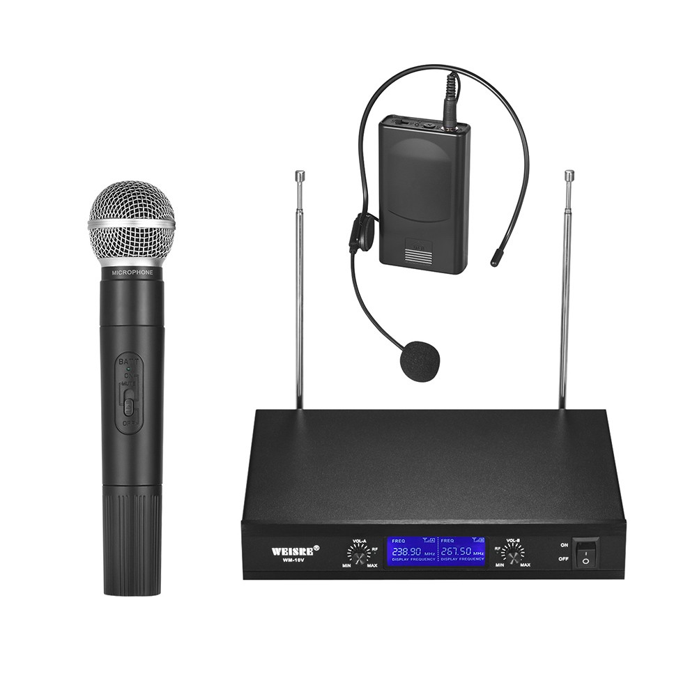 vhf wireless microphone system 2 channels for sale us 2 eu tomtop. Black Bedroom Furniture Sets. Home Design Ideas