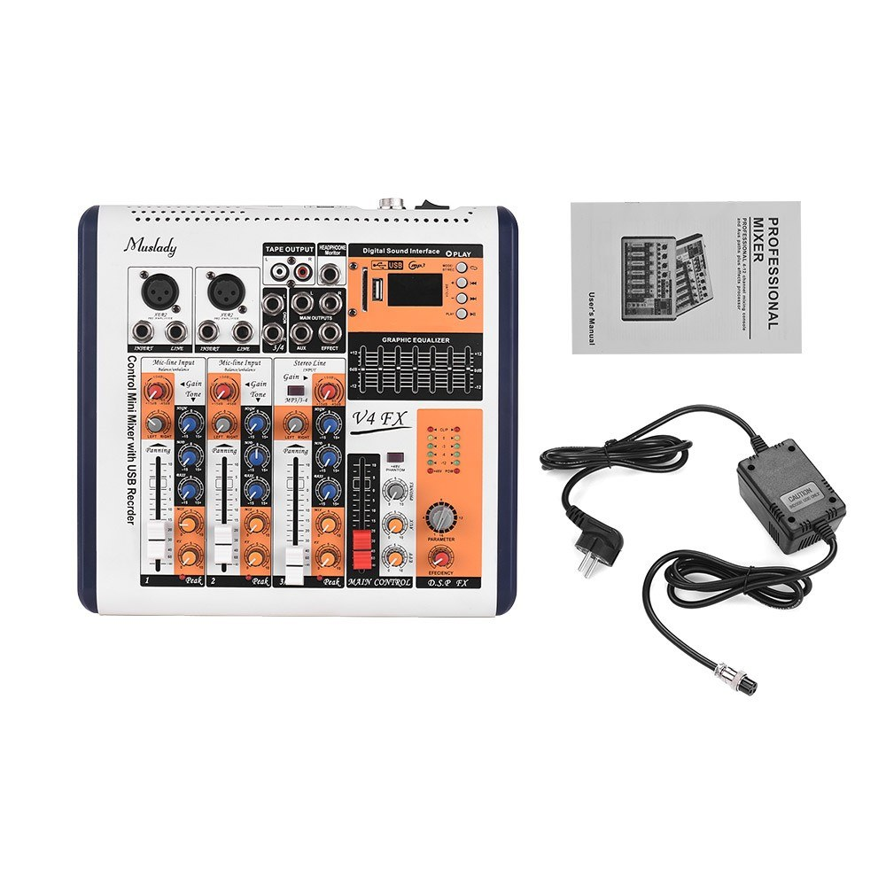 Muslady V4-FX 4-Channel Portable Mixing Console Mixer Built-in 16 DSP