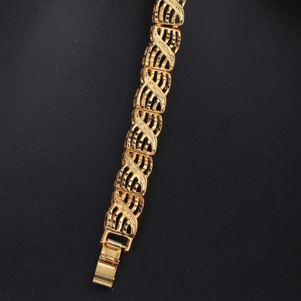 bdac30672353 Personalidad Punk Rock estilo 18K oro enlace Metal plateado mano cadena  pulsera joyería para mujeres niñas 14k chapado en oro - Tomtop.com