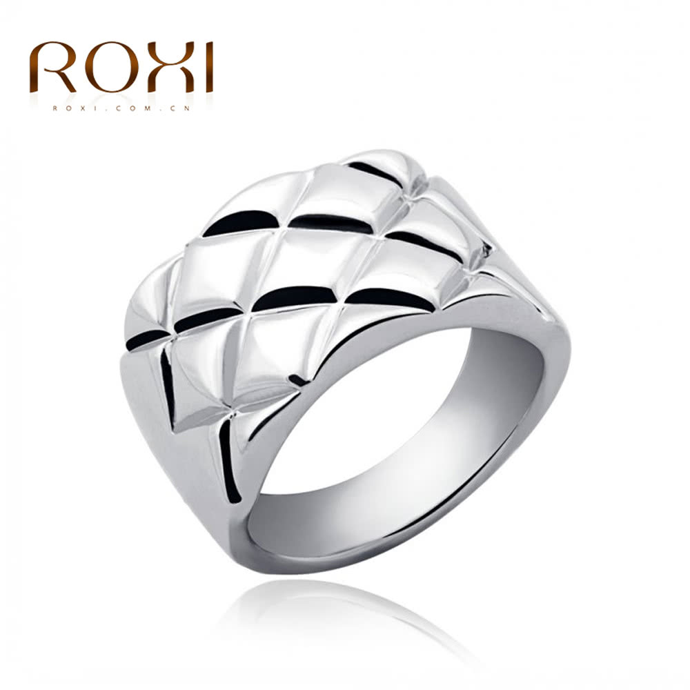 ROXI New Fashion White Gold Plated Rhombus Wide Ring Women Bride Wedding Party Jewelry Accessory