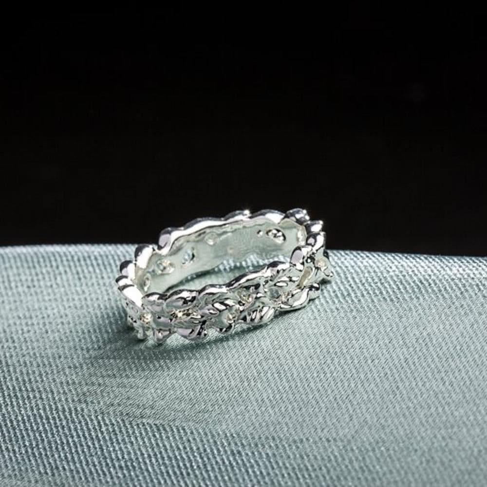 6270eecd0c06 ROXI mujeres moda oro blanco flor hueco plateado anillo novia boda  compromiso amor joyas accesorio - Tomtop.com