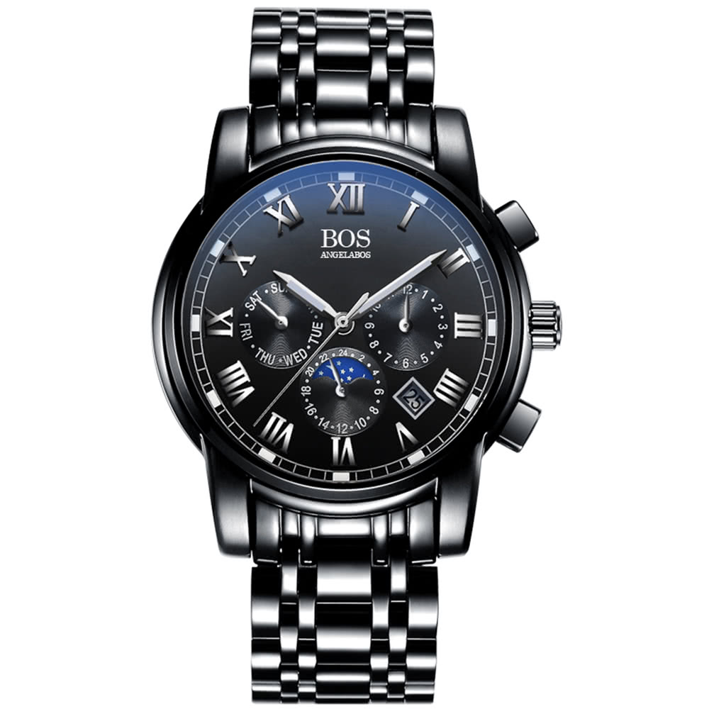 91ee3605a0674 افضل انجيلا بوس ساعة يد كوارتز للرجال، schwarz  schwarz بيع التسوق ...