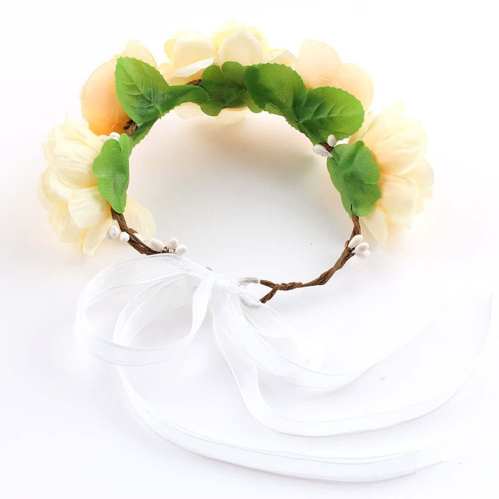 Beautiful Bohemia Flower Crown Garland Women Baby Diadem Beach Wedding Banquet Festival Wreath