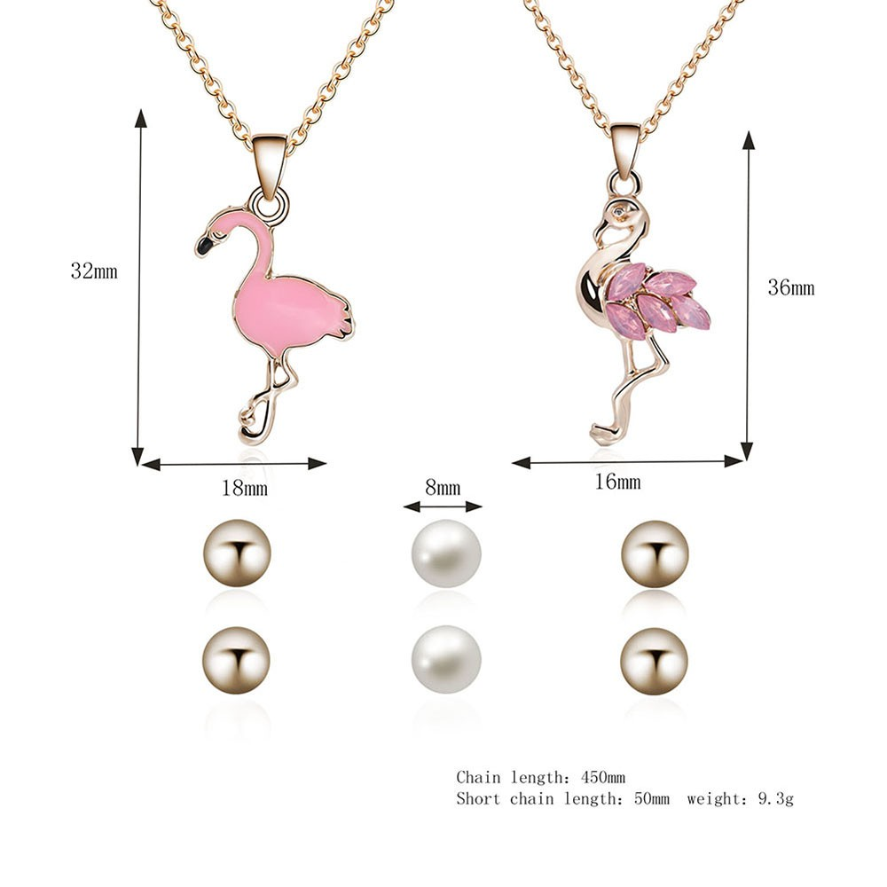 Fashion Jewelry Set Pendant Necklace Simple Pearl Ear Studs for Women Jewelry Accessory