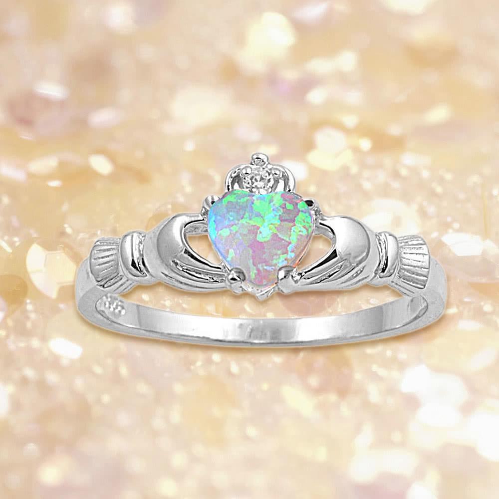 c2a5bc06b5fe Nueva moda mujeres corona manos corazón simulado anillo 925 esterlina plata  boda compromiso amor joyería del ópalo de