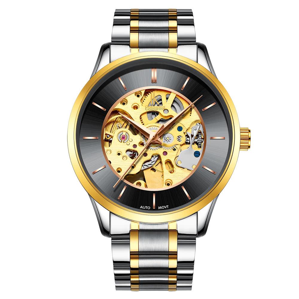 080d8ef74 IK COLORING Luxusní skeleton automatické mechanické hodinky hodinky z  nerezové oceli Self-Wind hodinky Man
