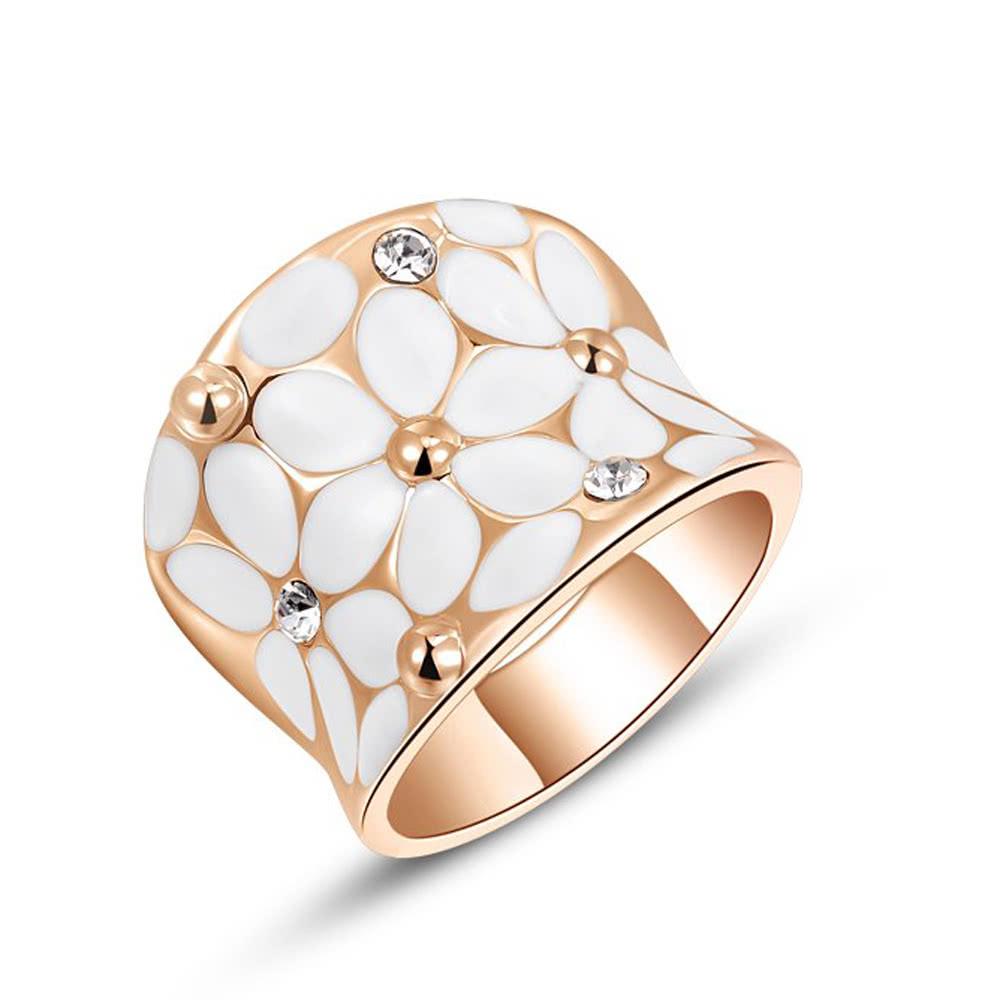 Roxi Fashion Enamel Flower Zircon Crystal Rhinestone Women's Gold Plated Ring