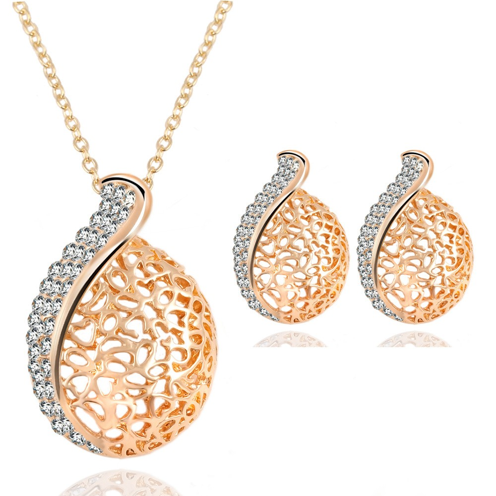 Fashion Hollowed-out Jewelry Set Alloy Rhinestone Necklace Earrings Women Jewelry