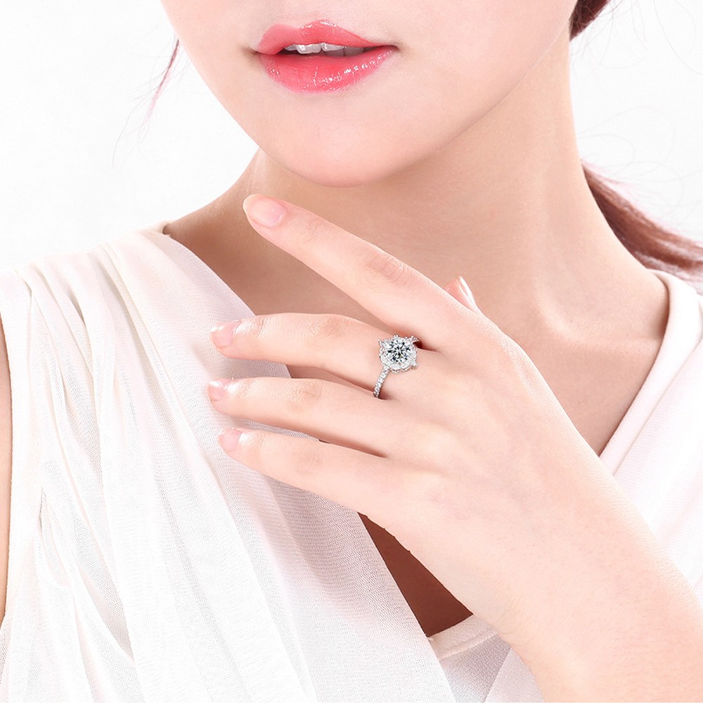 Round Inlay Diamond Ring European Fashion Classic Jewelry for Party ...