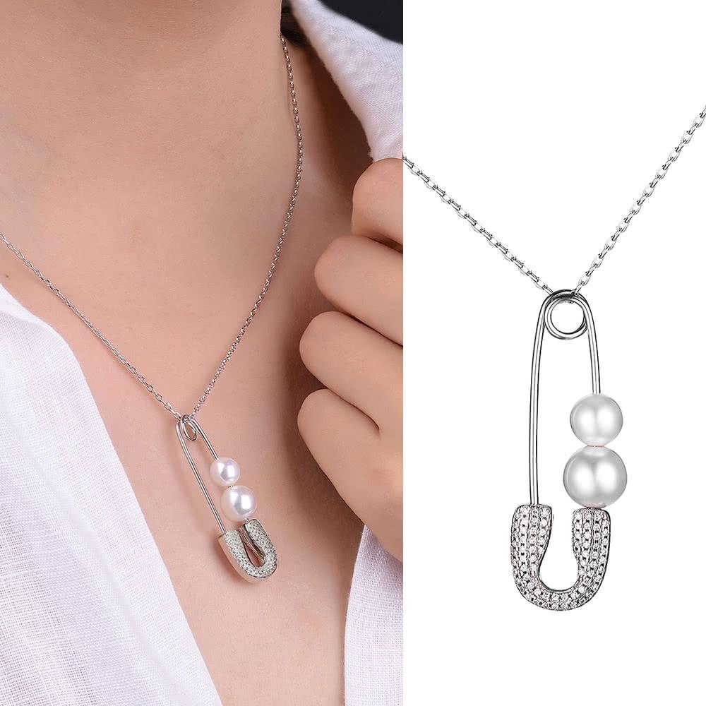 3374619328cb Collar JURE S925 plata esterlina sólida pasador de la cadena en forma de La  Uno de joyería con dos perlas de zirconia de 18 pulgadas - Tomtop.com