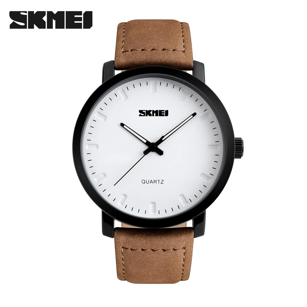 SKMEI Brand Men Sport Military Army Wristwatch Casual Men's Watch Retro Leather Waterproof Fashion Style Quartz Simple Watches black red Online Shopping | ...