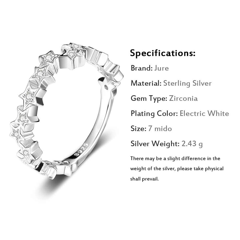 Jure 925 Sterling Silver Ring Zirconia Wedding Engagement Ring Star