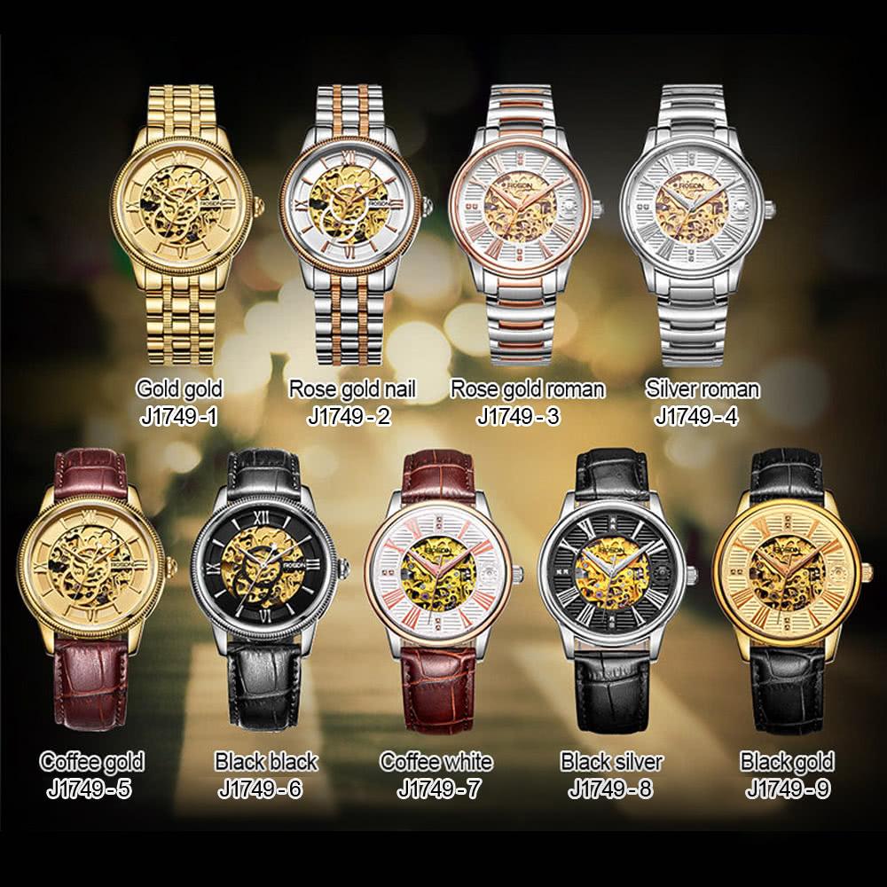 b208dc9306a ROSDN Top Marca de luxo de Ouro Sapphire Skeleton Homens Relógio Mecânico  Automático de couro genuíno Rubi Tendo Relógio de pulso Casual para Homem +  Watch ...