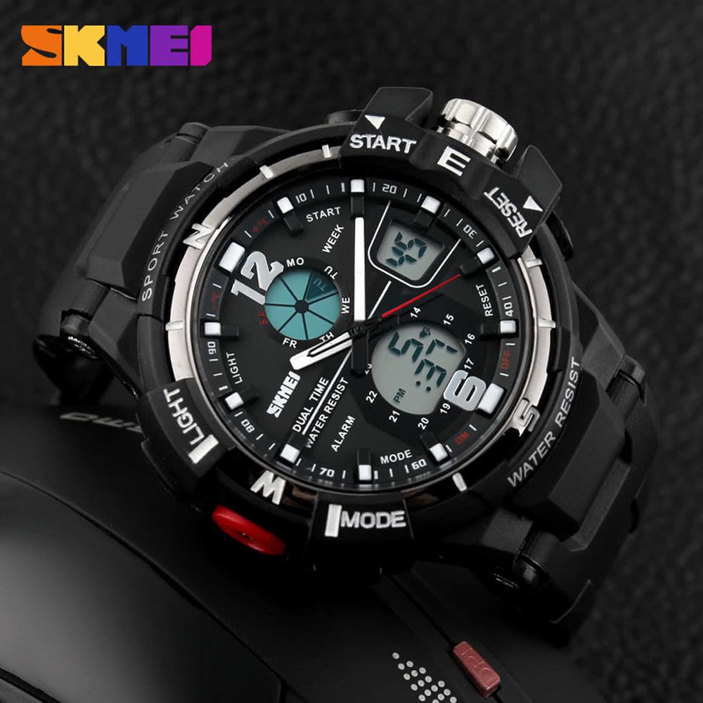 SKMEI Hot Sale Fashion Man Wristwatch Men's Sport Watch Water Resistant Rubber Strap Students Watches black Online Shopping | Tomtop