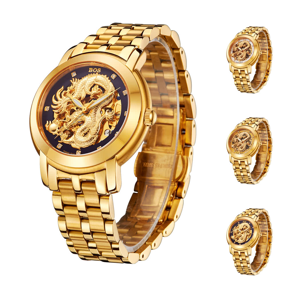 c1188939e Angela Bos Luxury Golden Chinese Dragon Automatic Mechanical Wristwatch