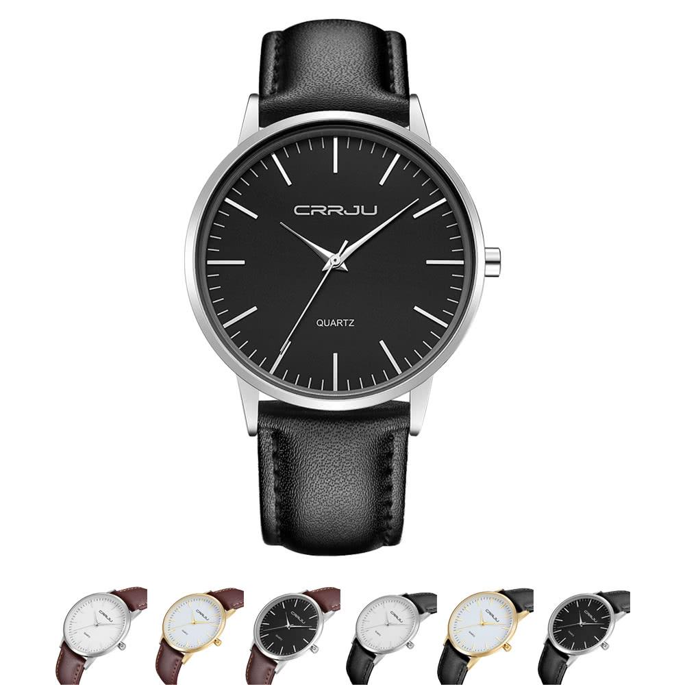 Correa CRRJU el diseño minimalista del hombre de negocios del reloj 3ATM  Resistente de agua diario del cuero de la PU del reloj analógico 13509073b332