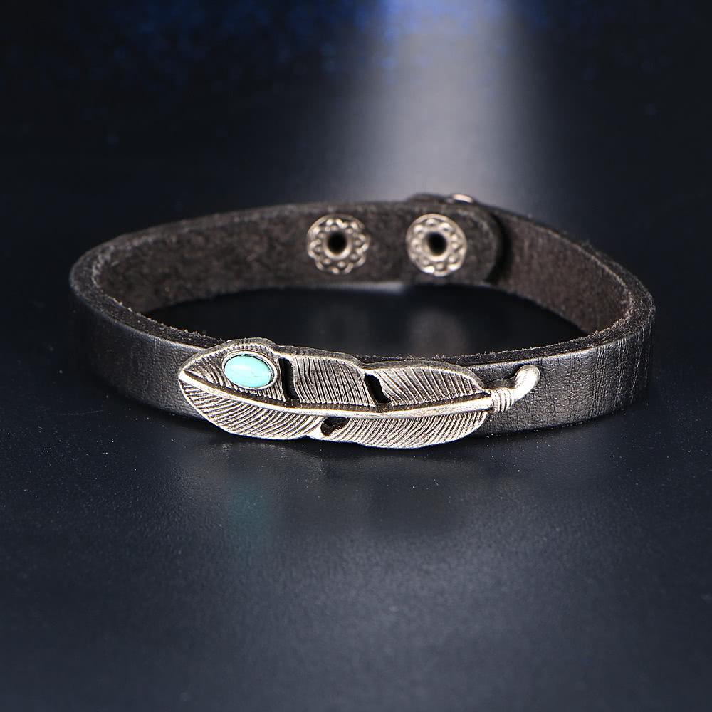 bracelet en manchette en alliage en cuir turquoise la. Black Bedroom Furniture Sets. Home Design Ideas
