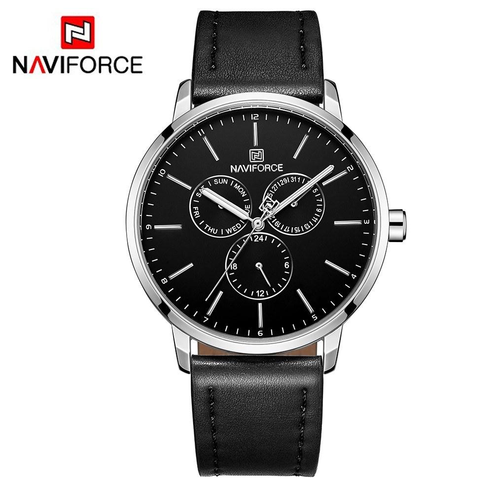 97716f25093 NAVIFORCE NF3002 Relógios De Quartzo Relógios de Quartzo Da Marca de Couro  Independente Hora Data Dia Janela Luminosa Business Casual Relógio de Pulso  ...