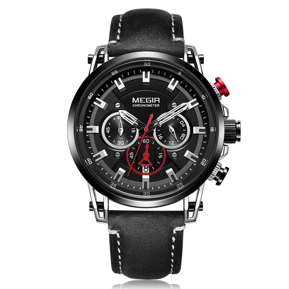 MEGIR 2085 Часы Мужские спортивные хронографы Кожаный ремешок Кварцевые часы