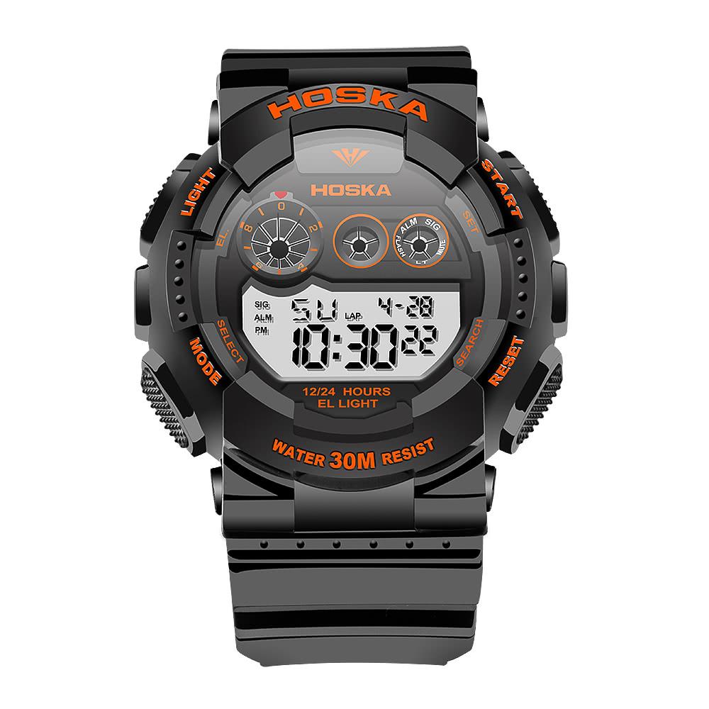 d0f488adbc4b HOSKA 2017 Nueva Multi-función LED Digital de los hombres reloj deportivo  militar 30M a prueba de agua reloj de alarma electrónica Hombre EL SIG 4  colores + ...