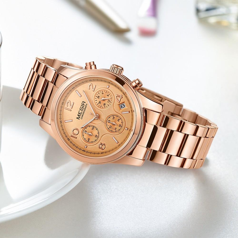 ee6b07cb83b MEGIR Fashion Luxury Stainless Steel Women Watches 3ATM Water-resistant  Quartz Luminous Woman Wristwatch Chronograph Calendar
