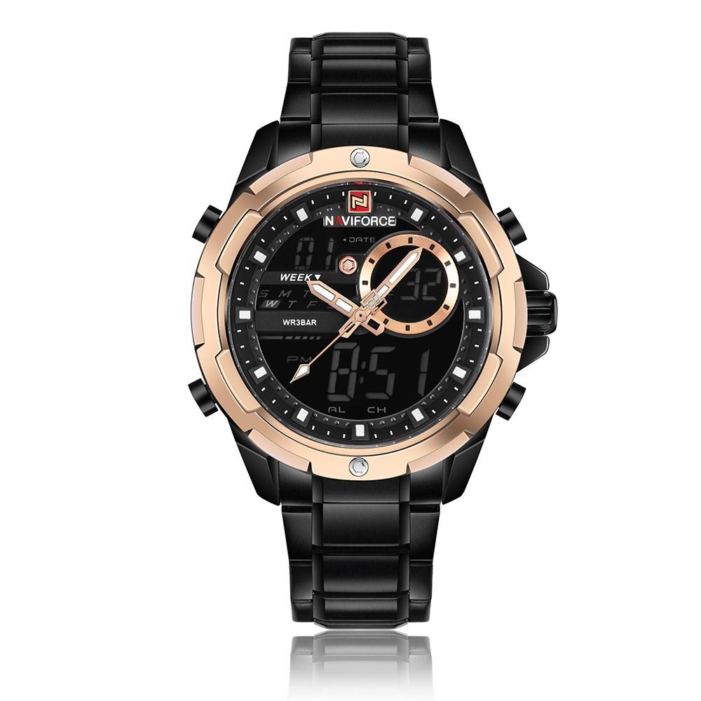 NAVIFORCE Fashion Stainless Steel Men Watches 3ATM Water-resistant Digital  Dual Display Watch Luminous Man Wristwatch Male Relogio Musculino